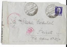 1942 - ENVELOPPE Avec CENSURE De MENTON ANNEXEE Par L'ITALIE => TRIESTE - Poststempel (Briefe)