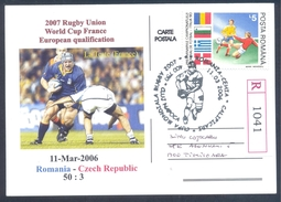 Romania 2006 Registered Card: Rugby World Cup France 2007; FIFA World Cup Italia 90 Soccer Calcio Football Fussball - Rugby