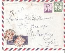 """N° 1029-1066 BRUXELLES 28/7/1961 S/L. AVION Vers BENGHAZI. """"TROUVE BOITE""""-TTx. Libyens 10 F.(x2) - 1953-1972 Glasses"""