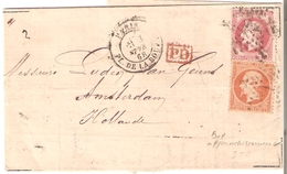 N° 23-32 En Affranch.MIXTE 1,20 F Etoile De PARIS/BOURSE Du 3/2/1868 S/LAC V/AMSTERDAM - 1863-1870 Napoleon III With Laurels
