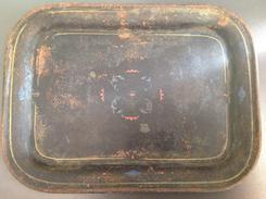 ANTICO VASSOIETTO In Metallo Latta ? Dipinta Su Fondo Nero Cm. 26,5 X 19,5 - Dishware, Glassware, & Cutlery