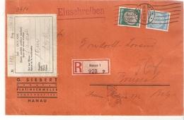 N° 492-496 HANAU I - 21/10/37 /Lettre Recommandée V/BXL étiquette DOUANE. Au Dos TTx Belge 48. - Covers & Documents
