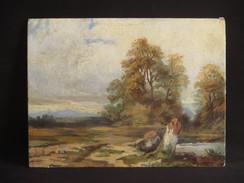 Ancien Tableau Huile Sur Carton Paysage Forêt Et Lac école De Barbizon XIX ème - Huiles