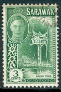 SARAWAK 1950 KGVI & Kayan Tomb 3c., XF Used, MiNr 173, SG 173 - Stamps