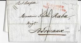 """ARGENTINE - 1824 - LETTRE De BUENOS AIRES Avec PORT ESTAFETTE (EXPRES) ENTREE """"COLONIES PAR LE HAVRE"""" => BORDEAUX - Poststempel (Briefe)"""