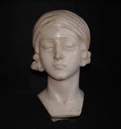 Ancienne Statue De Tête De Femme Au Foulard Art Nouveau Marbre Sculpté Fin XIX ème - Sculptures