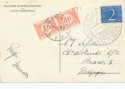 293/25 - NEDERLAND Carte-Vue Champs De Fleurs Cachet Spécial LISSE Keukenhof 1951 - Taxée à Bruxelles - 1949-1980 (Juliana)