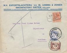 295/25 - NEDERLAND Lettre TP Wilhelmina Ambulant STADSKANAAL- ASSEN 1932 - Taxée à ESSCHEN Belgique 50 C + 70 C - 1891-1948 (Wilhelmine)