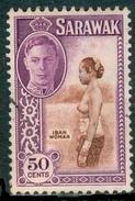 SARAWAK 1950 KGVI & Iban Woman 50c., XF Used, MiNr 183, SG 182 - Stamps