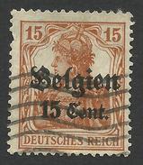 Belgium, German Occupation, 15 C. On 15 Pf. 1916, Sc # N15, Mi # 15, Used - WW I