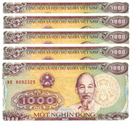 VIETNAM 1000 DONG 1988 (1989) P-106a UNC SMALL SERIAL S/N 5 PCS [VN334a] - Vietnam