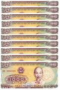 VIETNAM 1000 DONG 1988 (1989) P-106a UNC SMALL SERIAL S/N 10 PCS [VN334a] - Vietnam