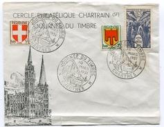 Journée Du Timbre De 1951 Sur  Env. De CHARTRES Du 10/03/1951 ( Déchirure En Bas) - FDC