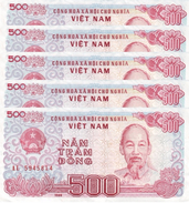 VIETNAM 500 ĐỒNG 1988 (1989) P-101a UNC SMALL S/N 5 PCS [VN329a] - Vietnam