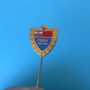 BOSNIA FOOTBALL FEDERATION - Vintage Jubilee Pin Badge * 75. ANNIVERSARY * Fussball Calcio Anstecknadel Distintivo - Football