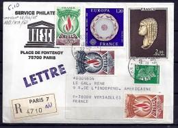 TP N° 1868/1878/1611/UNESCO43/44/45  SUR LETTRE REC. DU 22.7.76 - Marcophilie (Lettres)