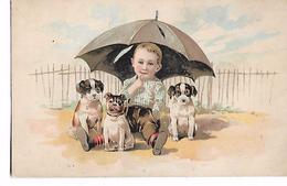 Petit  Fils  Au-dessous  De  Parapluie  Avec  3  Petits   Chiens - Chiens