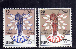 SUDAN SOUDAN 1960 WORLD REFUGEE YEAR ANNO DEL RIFUGIATO SERIE COMPLETA COMPLETE SET MNH - Sudan (1954-...)
