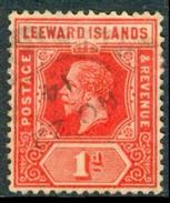 LEEWARD ISL. 1915 KGV 1d. Bright Scarlet, Wmk Mult Crown CA, VF Used, MiNr 48b, SG 48a - Stamps