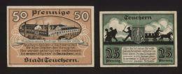 Notgeld - Stadt Teuchern - 25 Pf. + 50 Pf Geldschein - Vom März 1921 - Lokale Ausgaben