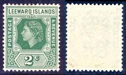 LEEWARD ISL. 1954 QEII 2c. Green, XF MNH, MiNr 119, SG 128 - Stamps