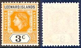 LEEWARD ISL. 1954 QEII 3c. Yellow-orange And Black, XF MNH, MiNr 120, SG 129 - Stamps