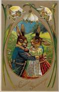 CPA Lapin Bunny Rabbit Position Humaine Habillé Circulé Type Thièle Boulanger Gaufré - Dressed Animals