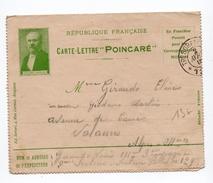 1915 - CARTE LETTRE FM PRESIDENT POINCARE - Postmark Collection (Covers)