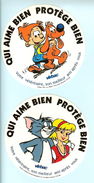 """HB-A 093 Lot De 2 Autocollant """"Qui Aime Bien Protège Bien"""" Avec Boule Et Bill Et Tom And Jerry - Autocollants"""