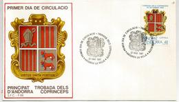 Les Armoiries Nationales De L'Andorre,   FDC De L'ANDORRE - Omslagen