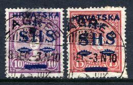 YUGOSLAVIA 1918 SHS Hrvatska Overprint On Hungary  Coronation Set Of 2 Used.   Michel 64-65 - 1919-1929 Kingdom Of Serbs, Croats And Slovenes