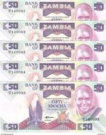 Zambia - Pick 28a - 50 Kwacha 1986-1988 - Unc - Lot X 5 Pcs Consecutive - Zambie