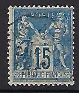 """YT 101 """" Sage 15c. Bleu, Papier Quadrillé """" CAD Convoyeur De Ligne - 1876-1898 Sage (Type II)"""