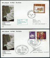 1986 Guernsey / Germany Dusseldorf Lufthansa First Flight Cards (2) - Guernsey