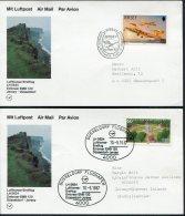 1987 Jersey / Germany Dusseldorf Lufthansa First Flight Cards (2) - Jersey