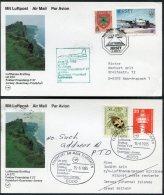 1985 Jersey / Germany Frankfurt Lufthansa First Flight Cards (2) - Jersey