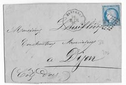 1872 - COTE D'OR - LETTRE De SANTENAY Avec CONVOYEUR STATION - LIGNE MOULIN à CHAGNY - IND 8 - Postmark Collection (Covers)