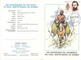200 ANIVERSARIO DEL NACIMIENTO DEL GENERAL MARTIN MIGUEL DE GUEMES FDC 23 DE MARZO DE 1985 - Ohne Zuordnung