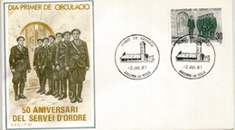 Année 1931 Création De La Police Et Service D'Ordre Andorran,   FDC De L'ANDORRE - Police - Gendarmerie