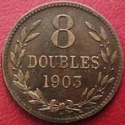 GRANDE BRETAGNE MONNAIE REGIONALE  GUERNESEY 8 DOUBLES 1903 H , HEATON , UK OLD COIN GUERNSEY - Monnaies Régionales
