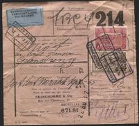 PERFORE PERFIN F.C=Franchomme Sur Bull. Exp. Colis Chemins De Fer Contre Remboursement 1934(pli)  Perfined Lochung - 1923-1941