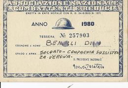 1-ASSOCIAZIONE NAZIONALE COMBATTENTI E REDUCI-TESSERA ANNO 1980 - Documenti