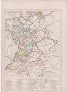 CARTE DE L'EMPIRE D' ALLEMAGNE APRES LE RECEZ DE 1803 DRESSEE D'APRES LES ACTES DU RECEZ PAR L DUSSIEUX 1846 - PRINCES - Cartes Géographiques