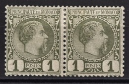 MONACO 1885 / 14  - PAIRE Y.T. N° 1 / NEUF* K61 - Ungebraucht