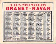 CALENDRIER 1953 ..  PUB. TRASPORTS GRANET - RAVAN - Calendriers