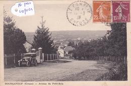 23-BOURGANEUF(CREUSE)-AVENUE Du PETIT-BOIS-VOITURE ANCIENNE-ECRITE- TIMBREE-2 CACHETS,1 Le COMPEIX CREUSE- 1938- - Bourganeuf