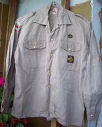 Antique Austria Scout Shirt Khaki - 4 Patches & Brass Buttons - Scoutisme