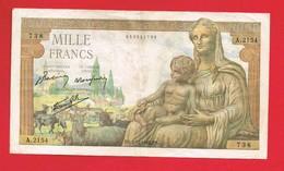 1 Billet De MILLE FRANCS 1000 Francs ... FS.3 -12-1942.FS. - A.2154 - 738 ... - 1 000 F 1942-1943 ''Déesse Déméter''