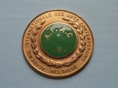 ACADEMIE INTERNATIONALE DES ARTS CONTEMPORAINS Belgique - A.I.A.C. B.( 78.5 Gram / Goudkleur 6 Cm. ) ! - Andere