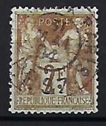 """FR YT 105 """" Sage 1F. Bistre S. Azuré Type III """" Cachet à Date Noir Des Imprimés - 1876-1898 Sage (Type II)"""
